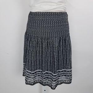 Max Studio Midi Skirt Printed Elastic Sz XL Blk G7
